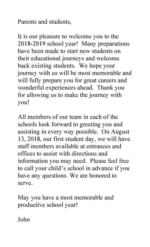 2018-2019 School year welcome message from superintendent