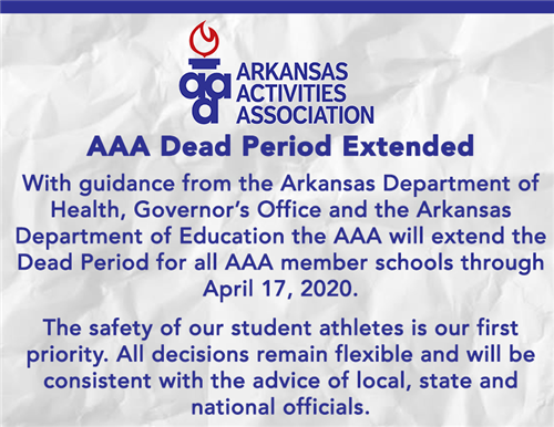 AAA extends Dead Period for Schools Through April 17
