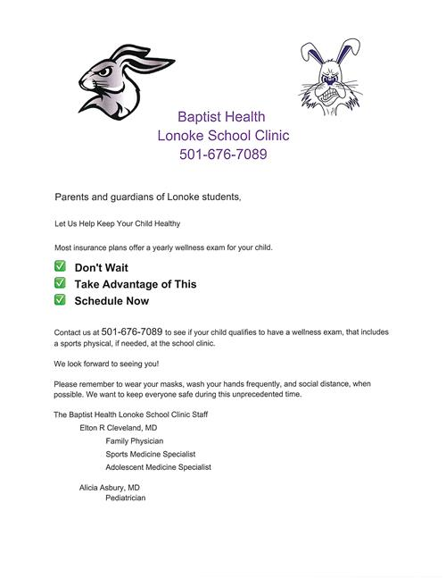 Wellness exams for students can be done at the School health clinic.  Call 676-7089 for more information