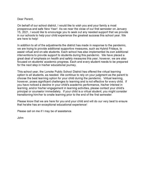 Letter to Parents from Superintendent Dr. John Tackett