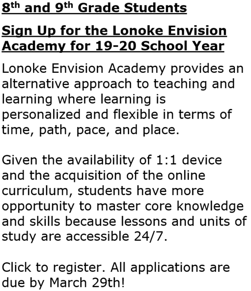 Envision Academy sign up for 8th and 9th grade students in 19-20 school year