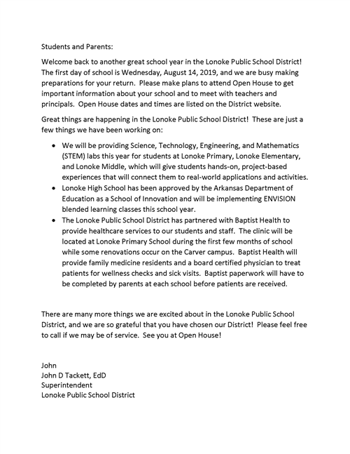 Welcome Back letter from Superintendent Dr. John Tackett