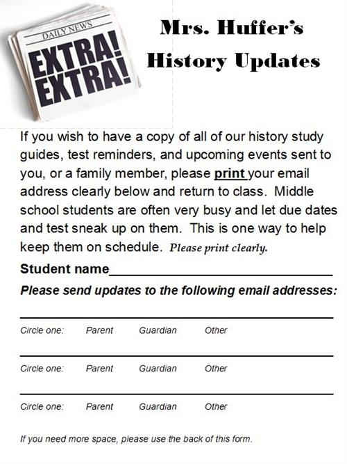 History Update Sign Up Sheet